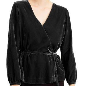 J. Crew faux velvet wrap blouse top 12 tall NWT